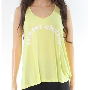 Yellow Sunset Chaser Long Muscle Tank Tee